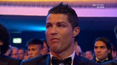 FIFA Ballon d'Or 2012. Ronaldo's epic face when messi got the price.... Ronaldo:The am i doing in here?