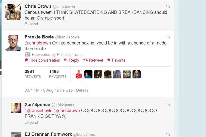 Frankie Boyle. . Jil, Chris Brown '... Serious tweet: I SKATEBOARDING AND BREAKDANCING should be an Olympic sport! Expand Frankie Boyle (. 2) chrisbrown Or inte