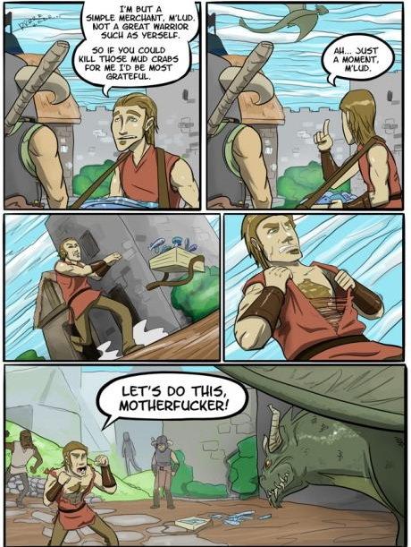 Freakin Skyrim merchants.. Stop lollygaging... The dragon after that merchant kicks his ass and calls him a nerd.