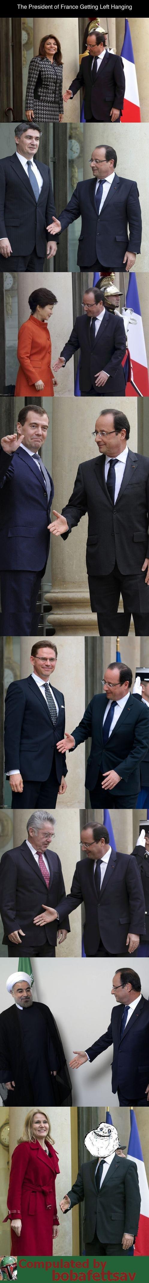 French President, François Hollande. . The President of France Getting Left Hanging