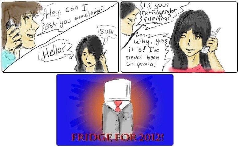 Fridge 2012!. . newer been Go grand]. Looks like a square, limbless, slenderman.