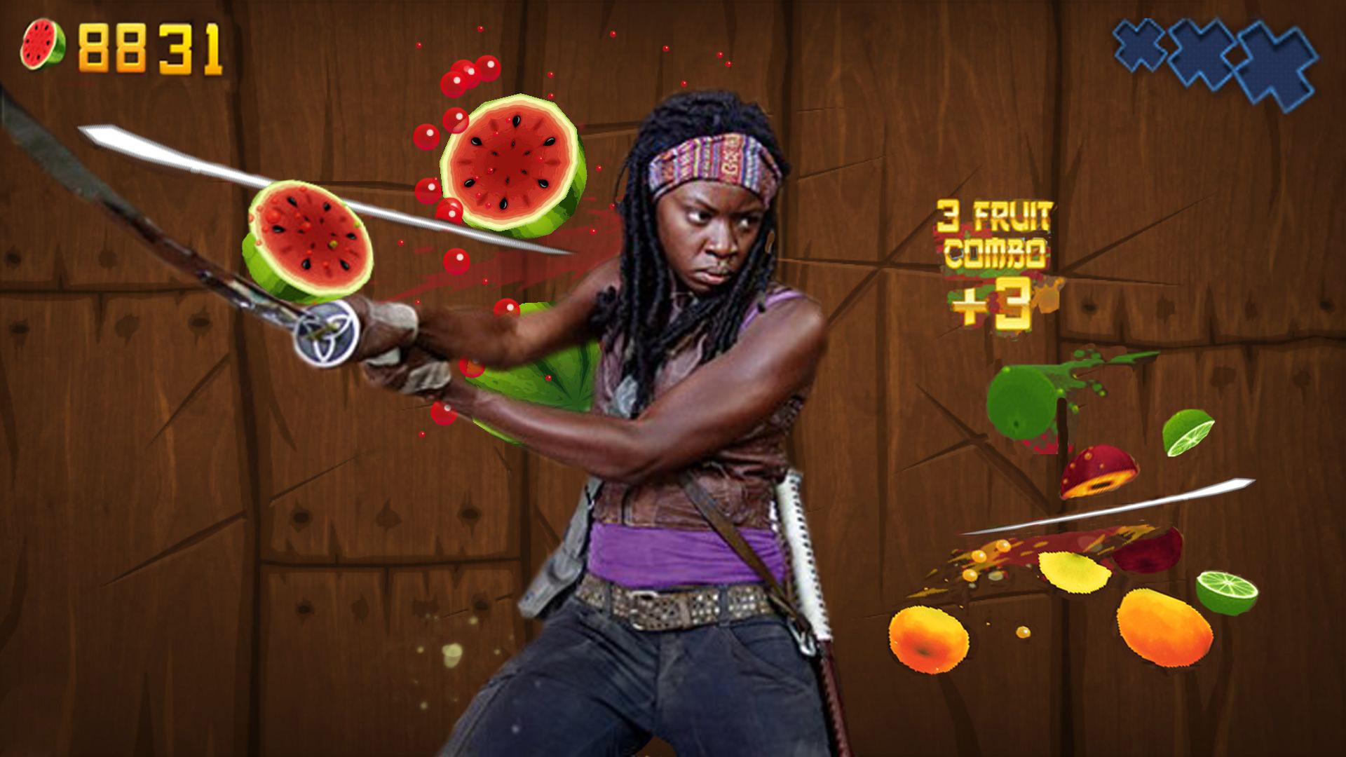 Fruit Ninja: Walking Dead Mode. What Michonne playing Fruit Ninja would look like... No wonder she always has a face like that. Imagine what goes through her head when she cuts those watamelans.