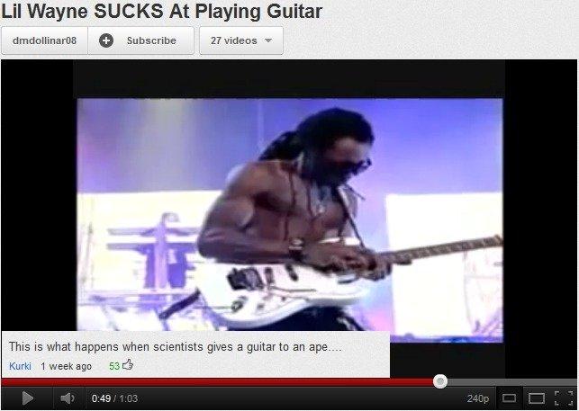 fucking lol'd. . Lil Wayne SUCKS At Playing Guitar Ilia- ikill! This is what when scientists gives a guitar to an apa-___ Utrillo Ttb', lil wayne Guitar lol ape monkey shit trawlawlawl OMGOSH