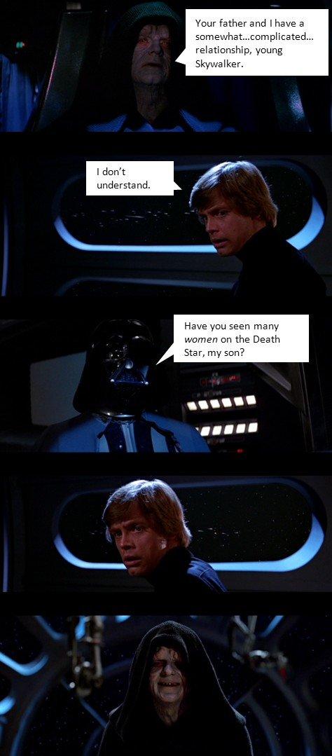 "Fun on the Death Star. I got nothing. cnut father and I have an I dcdn"" t Have mun aae' : yr an the Death Star, nay stun?"