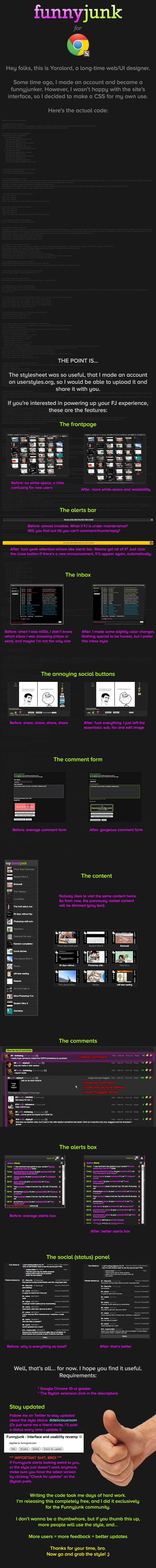 Funnyjunk for Chrome. D O W N L O A D : ----- Stylish - http://d.pr/Msoy Funnyjunk for Chrome - http://d.pr/rlnf Twitter - http://d.pr/EKmx · · · F A Q : -----  FUNNYJUNK Chrome stylish