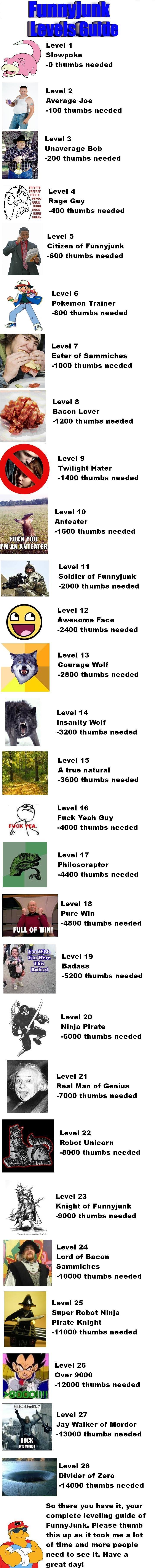 "Funnyjunk level guide. . Level 1 Slowpoke thumbs needed Level 2 Average Joe 100 thumbs needed Level 3 Unaverage Bob 200 thumbs needed Level 4 Cf) FFCCFF BEL"" Ra"