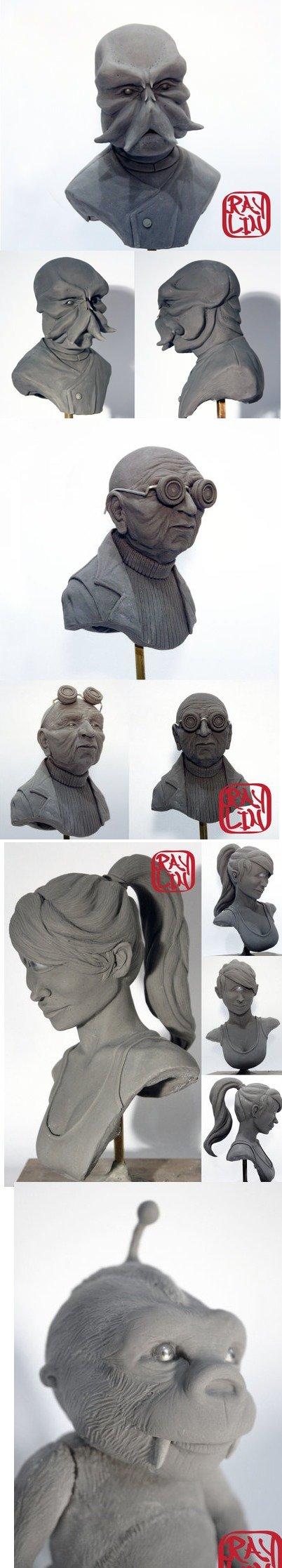 Futurama Fan Sculptures. Zoidberg, Farnsworth, Leela, Nibbler.. I couldn't resist.
