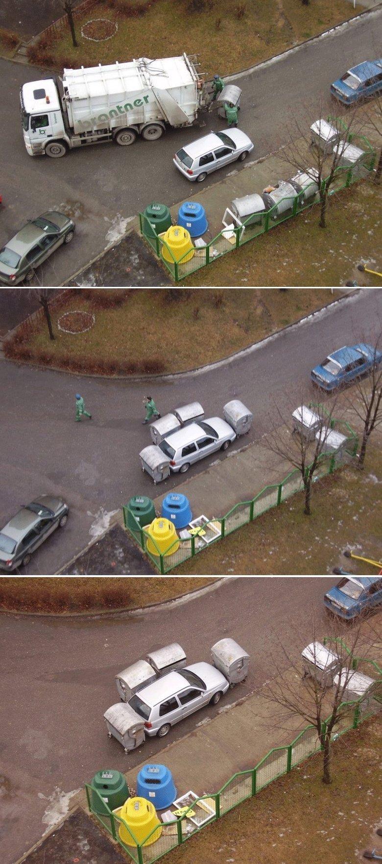 garbage men. not something to be messed wih.. hue vehicle pun