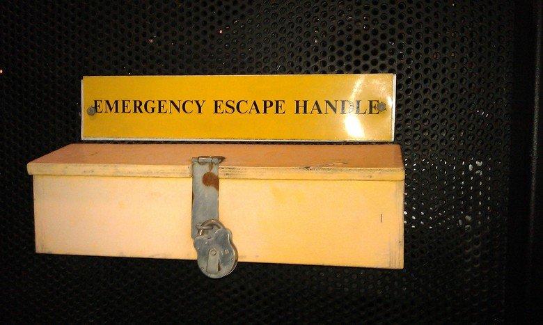 Genius. Emergency handle? Let's put a padlock on it!.