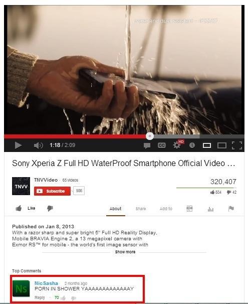 Genius. Faptastic. Sony Xperia Z Full Waterproof Smartphone (Dental Video Meq THU' Tnh/ Video. Ewen liar - iii we we Published on Jana, 3113 With El :32: -1' sh Praise the sun