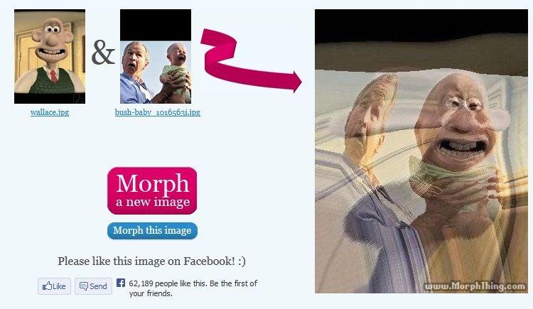 George Bush Evil Baby morph 2. . El ' 1111 tait! Merph this image Please like this image an Facehoofs 3 shrike 15 Send El 52, 189 people like this, Be the first