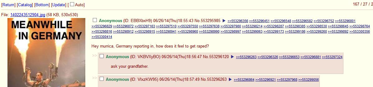 Germany vs USA. . Return] [Catalog] [Bottom] [Update] [] 167 I 27 I 2 File: ( 58 KB, 530x530) Hey murrica, Germany reporting in, how does it feel to get raped?