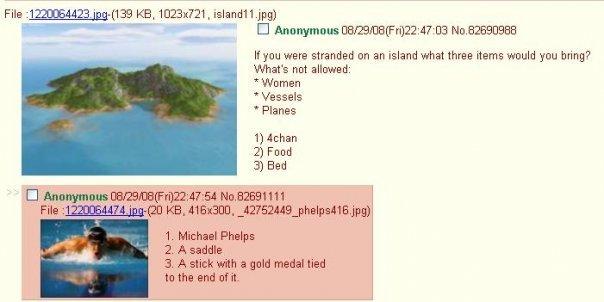 getting off an island. . Cl Anonymous ( It you were stranded en an island whet three Heme would yen bring? What' s not . Women Vessels Planes 1) Behan 7) Fund B