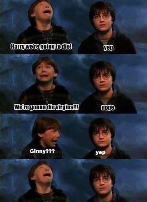 Ginny???. . Harri Ile' I' B Minn In Ilia! Ginny??? HEP. ... sigh...