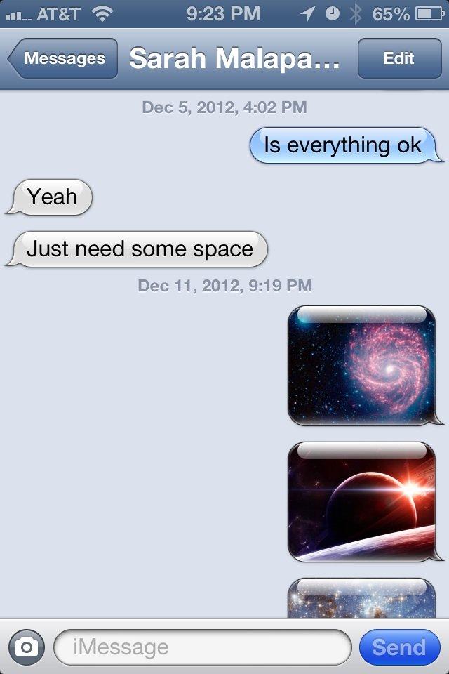Give her some space. Not mine. a 65% If. SPAAAAAAAAAAAAAAAAAAAACE