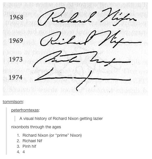 "Goddamn it Nixonbots. . 1969 . 1973 tomm_ alsom: A visual history of Richard Nixon getting Bezier niotto through the ages 1. Richard Nixon but ""prime"" Nixon) 3."