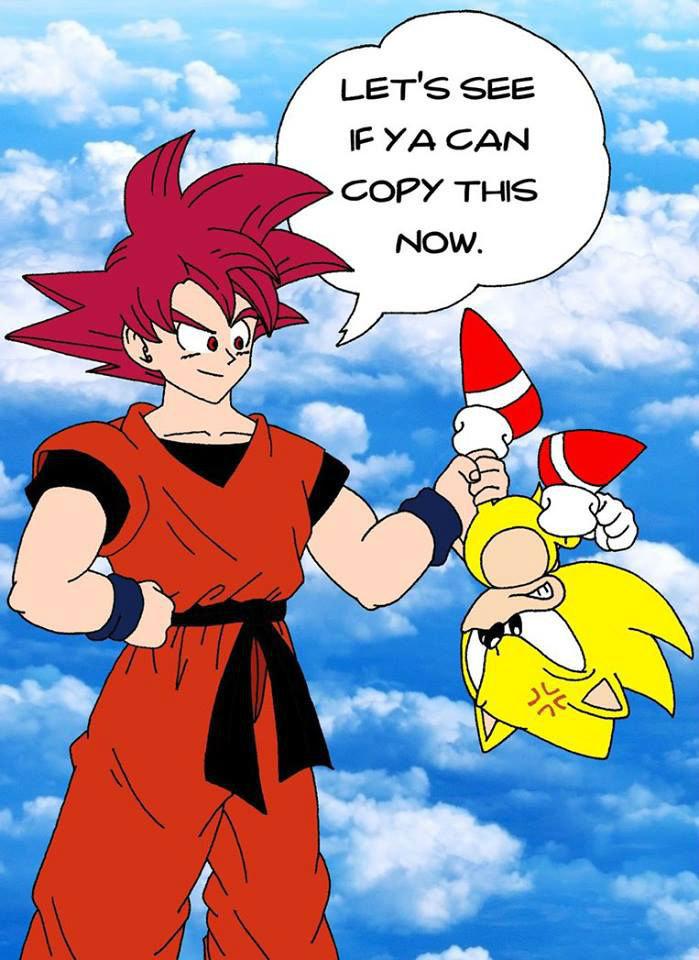 Goku: 1, Sonic: 0. . IF YA s' THIS. tails copied Goku as well dbz Sonic