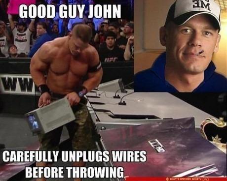 Good guy John. . vat's. John carefully inplugs wires before throwing. Good job, John! Wrestling etiquette. Super simple stuff.