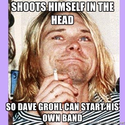 good guy kurt. .. He looks a bit sad in the photo kurt cobain dave Grohl