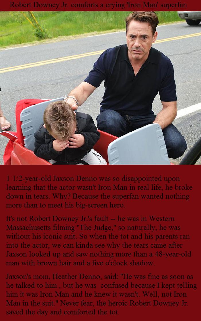 Good Guy RDJ. Robert Downey Jr. comforts a crying 'Iron Man' superfan..
