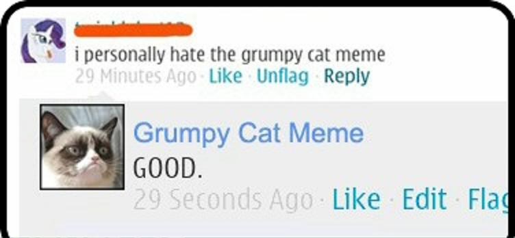 Good...good...gooood. Good. t t i personally hate the grumpy tat meme Like Reply Grumpy Cat Meme GOOD. Like Edit Fla. I personally hate My Little Pony.