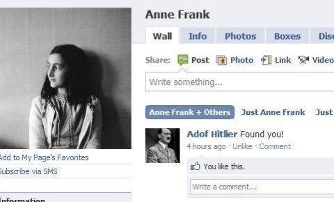 Got her. . Anne Frank Hal Ilia Photos lama: Dis: Share: E Post a Phnts fili] Link 'garden Write something... Anne Frank p, { Just Anne Frank Just Addf Hitler Fo