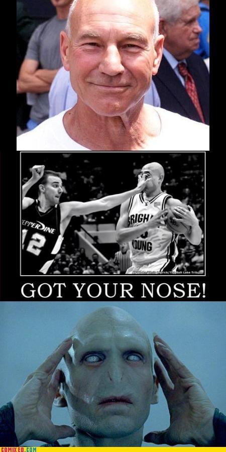 Got your nose!. .. Professor Xavier is not Voldemort