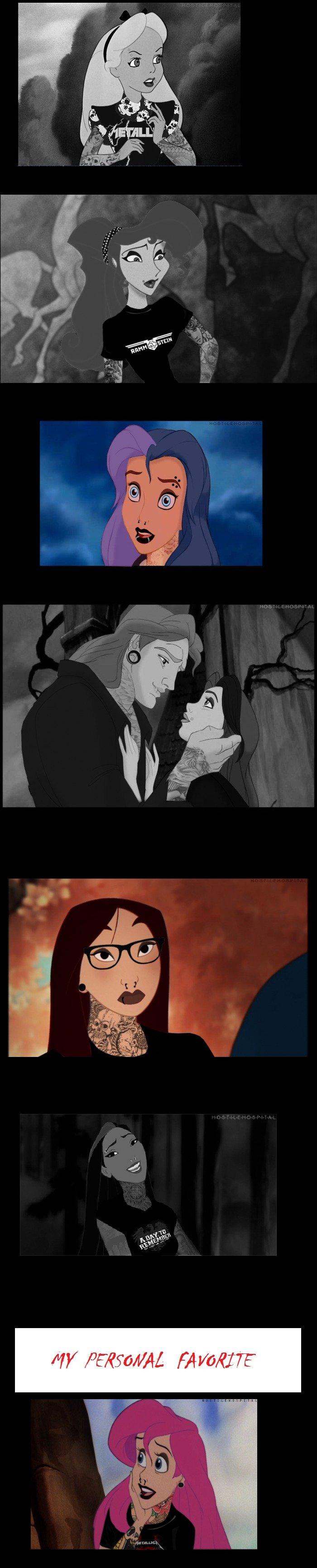 Goth and Emo Disney Chicks. . MY BIE' mira TE. It's good but...Metallica isn't goth.