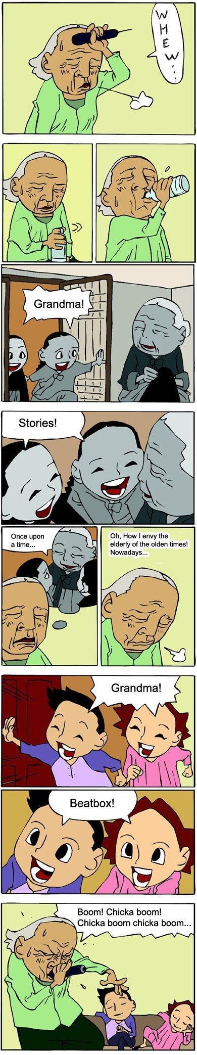 Grandma's Story Time. Righty right. Korean comic beatbox grandma children