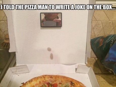Greatest pizza box joke. . funny pic Food joke Pizza