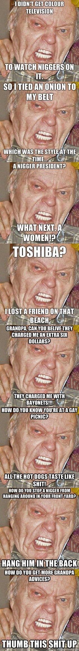 """Grumpy grandpa comp. . Mi; Art Milli MI foil 'lal. tll """"WEE"""" FED"""" y' Hangings HI]!!! Bil mu BET MERE f. 'What next, a women?' grandpa"""