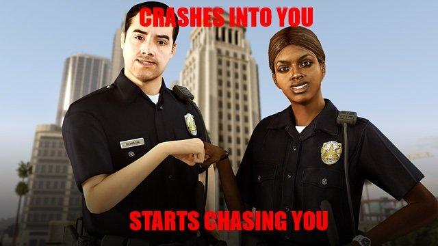 GTA V Cops. ... Cops - We got a stolen vehicle. Lets crash into it and shoot him until the car explodes and the thief dies!!