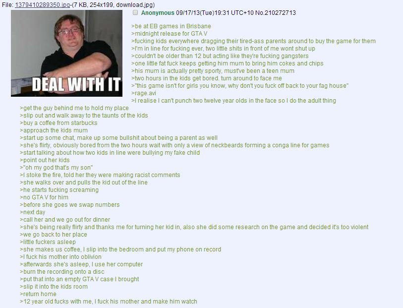 "GTA5 YO. . File: "". KB, 254x199, download. jpgy C) Anonymous (: fyw o Neil it abe at EB games in Brisbane midnight release kids everywhere dragging parents arou GTA5 YO 4Chan Anon funny story"