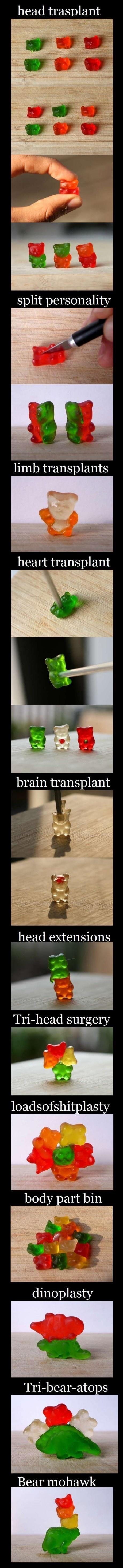 Gummy Bears. . head trabant limb transplants head extensions mia- surgery at v Bear mihawk A. Make a Gummybear centipede