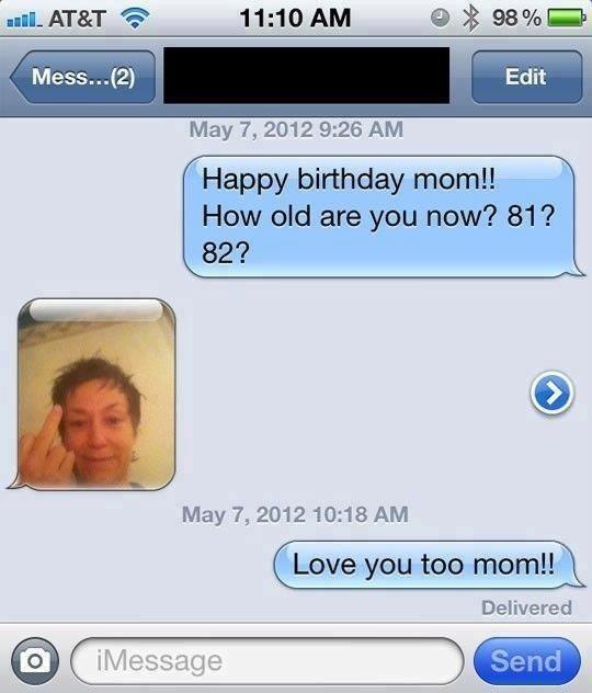 Happy Birthday Mom!. . May 7, 2012 9: 26 AM. She looks stoned.
