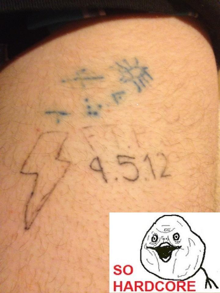 Hardcore tattoo. No I don't think it's a real tattoo. Hardcore