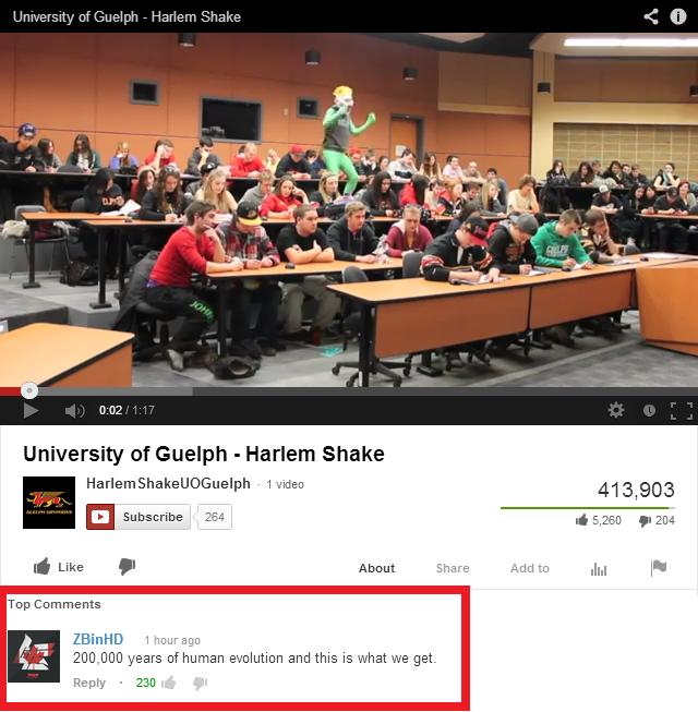 Harlem Shake. Link: www.youtube.com/watch?v=Jr6K3I8XLDE. n:: f ikue. lch - Harlem Shame K I] University of Guelph - Harlem Shaka E Subscribe , i. giglio F 31: 1