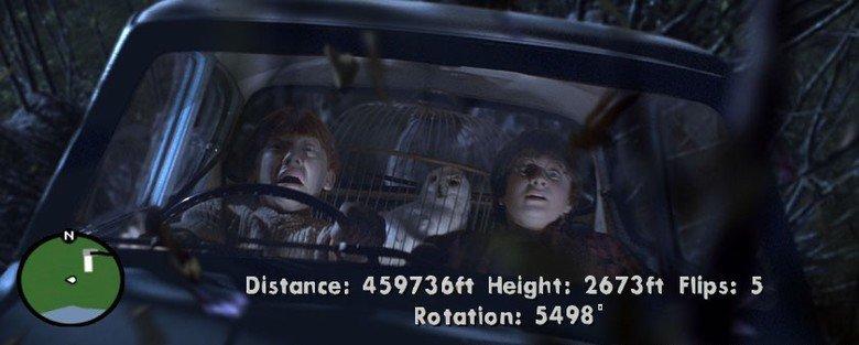 "Harry Potter plays GTA. bad landing. Distance: Height: Flips: 5 1"" "" Rotation: 5498"". CJ ain't no busta. Harry Potter gta"