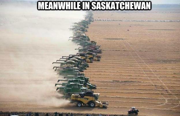 Harvest. Just another day in Saskatchewan...