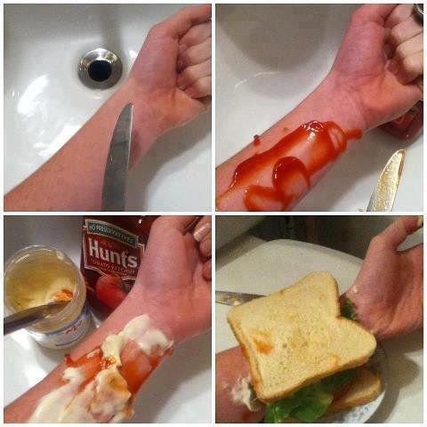 Hashtag cut4tuna. .. IS YOUR JOKE STILL FUNNY NOW? sandwich self harm self arm