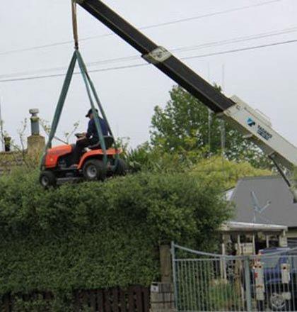 Hedge trimming like a man. .