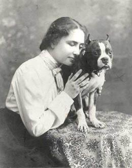 "Helen Keller and her cat, ""Mittens"". Source: Imgur."