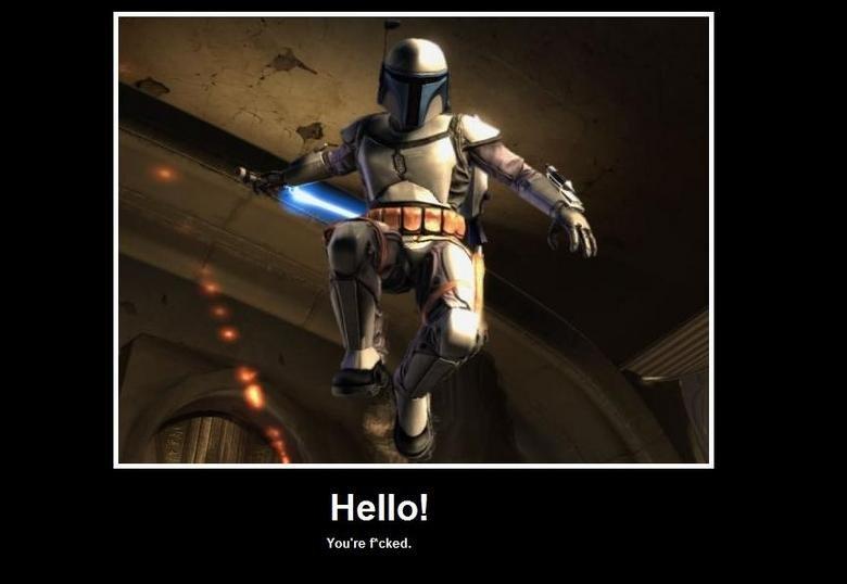 Hello!. Jango+lightsaber= awesomeness.