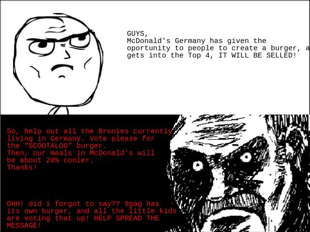 Help German bronies out! MAKE IT HAPPEN. Link: in case it doesn't works: http://www. mcdonalds. de/ mein_burger/index.cfm#/galerie/detail/11 033 Just erase all