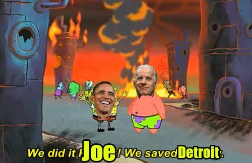 Hey Joe!. US problem solving tactics; credit to runningrepublican on tumblr.. I believe only batman or a nuke could save Detroit. obama joe biden detriot