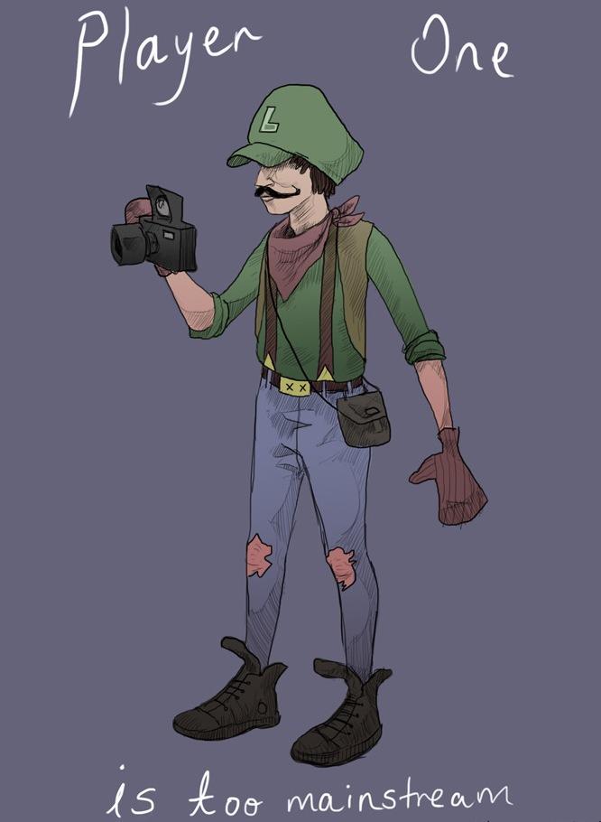 Hipster Luigi. .. Mario: I'm taking player 1 Luigi: Knock yourself out