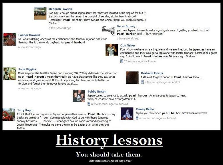 "History Lessons. USA y u no remember Hiroshima and Nagasaki?. Deborah Budday, Cornor ""Ward Fund Hartley deal... my Merican"" pear' harbor! Otis Fisher earthquake usa Japan earthquake hiroshima nagasaki facebook fail history lessons"