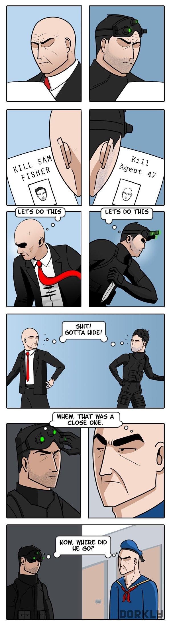 "Hitman vs. Splinter Cell. . an ffl"" ii' A Inline: ."