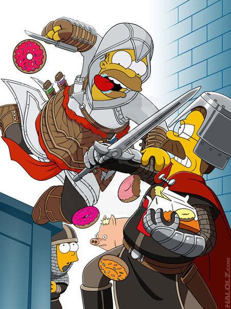 Homer Simpson da Springfield. .. assasin pig, assasin pig, does whatever assasin pig does. can he use a hookblade? no he can't, he's a pig. look out! he is assasin pig