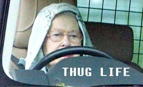 Hoodie Queen. Queen Elisabeth II rockin a hoodie. nigger stole my bike